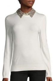 Stella   Lorenzo - Embellished Collar Pullover white at Saks Off 5th