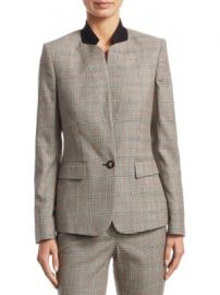 Stella McCartney - Glen Plaid Wool Stand Collar Blazer at Saks Fifth Avenue