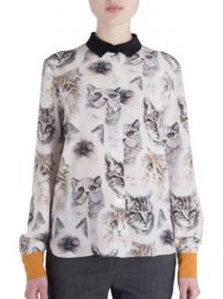 Stella McCartney - Wilson Silk Cat Print Blouse at Saks Off 5th