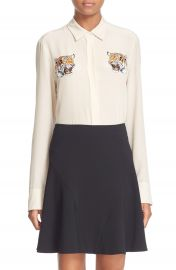 Stella McCartney  Arlo  Tiger Embroidered Silk Crepe Blouse at Nordstrom