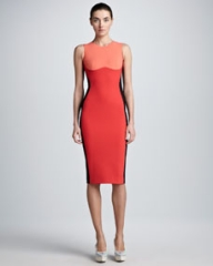 Stella McCartney Contoured Colorblock Sheath Dress Coral at Neiman Marcus