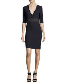 Stella McCartney Ric-Rac Half-Sleeve Dress Midnight at Neiman Marcus