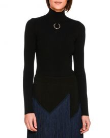 Stella McCartney Turtleneck Sweater Top with Ring  Black at Neiman Marcus
