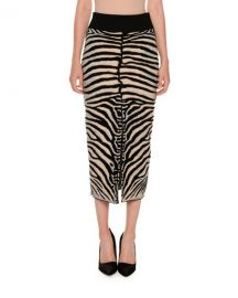 Stella McCartney Zebra-Print Slim Slit-Back Skirt  Multicolor at Neiman Marcus