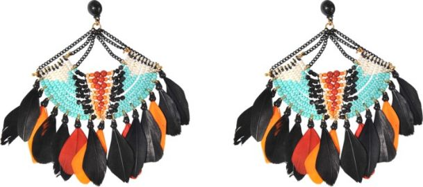 Stephania Feather Earrings by Gas Bijoux at Monnier Freres