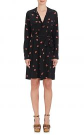 Stephania Lip-Print Silk Shirtdress at Barneys