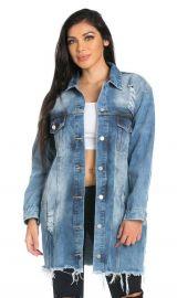 Stone Washed Oversized Distressed Denim Jacket by Soho Girl at Soho Girl