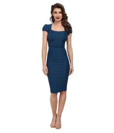 Stop Staring Lindsey Fitted Dress Peacock Blue at Zappos