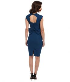 Stop Staring Love Sweetheart Neckline Dress w Bow Back Detail Peacock Blue at 6pm