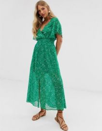 Stradivarius ditsy floral maxi with front split in green   ASOS at Asos