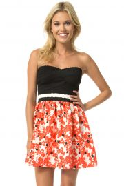 Strapless Bandage Top Floral Skirt Dress at Teeze Me