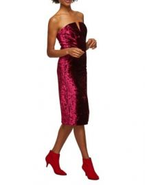 Strapless Velvet Midi Dress at Lord & Taylor