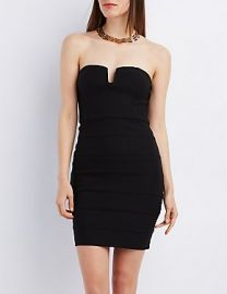 Strapless bandage bodycon dress at Charlotte Russe