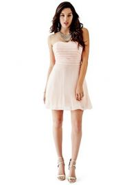 Strapless pleated bodice dress at Guess