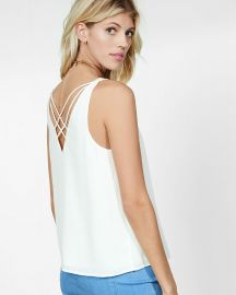 Strappy Back V-Neck Tank in Ivory at Express