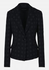 Stretch Silk And Wool Jacket With Pin Dot Embroidery at Emporio Armani