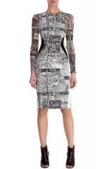 Stretch Texture Print Dress at Karen Millen