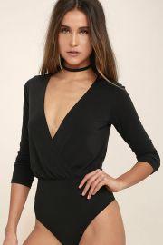 Striking Looks Washed Black Long Sleeve Bodysuit at Lulus