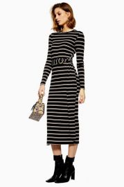 Stripe Belted Midi Dress at Topshop