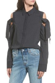 Stripe Bow Cold Shoulder Top at Nordstrom Rack
