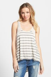Stripe Crochet Inset Tank Juniors at Nordstrom Rack