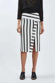 Stripe Detailed Midi Skirt at Topshop