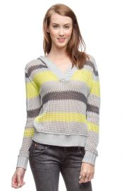Stripe hooded sweater by Ya LA at Chic Boutique
