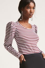 Stripe puff sleeve top at Forever 21
