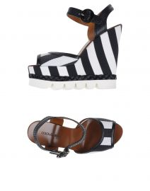Stripe wedge sandals by Dolce and Gabbana at Yoox