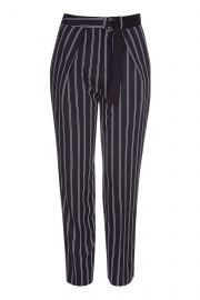 Striped Belted Peg Trousers at Topshop