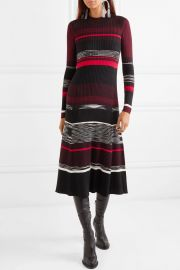Striped ribbed wool, silk and cashmere-blend dress at Net A Porter