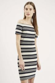 Striped Bardot Bodycon Dress at Topshop