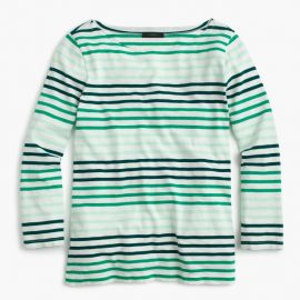 Striped Boatneck T-Shirt Marine Jade Mint at J. Crew