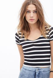 Striped Boxy Top  Forever 21 - 2052702553 at Forever 21