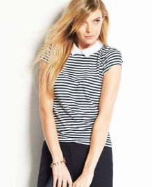 Striped Collared Linen Top at Ann Taylor