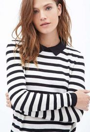 Striped Collared Sweater at Forever 21