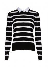 Striped Crewneck with Collared Shirt at Alice & Olivia