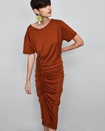 9f1260fa WornOnTV: Eve's brown striped ruched dress on The Talk | Eve ...