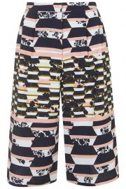 Striped Floral Print Culottes at Topshop