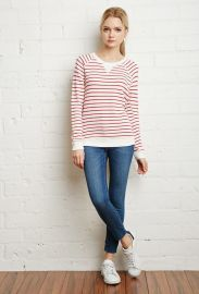 Striped French Terry Sweater  at Forever 21