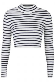 Striped Funnel Neck Crop Sweater at Topshop