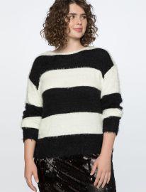 Striped Fuzzy Sweater at Eloquii