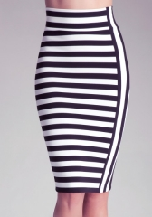 Striped Midi Skirt at Bebe