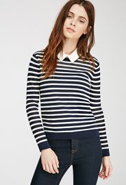 Striped Open Knit-Paneled Sweater  Forever 21 - 2000097590 at Forever 21