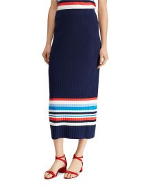 Striped Rib-Knit Midi Skirt by Lauren Ralph Lauren at Bloomingdales