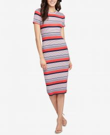 Striped Ribbed T-Shirt Dress at Macys