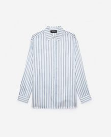 Striped Satin Silk Shirt by The Kooples at The Kooples
