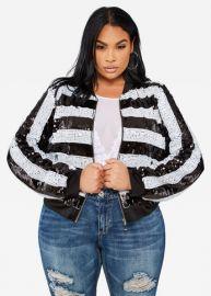 Striped Sequin Bomber Jacket by Ashley Stewart at Ashley Stewart