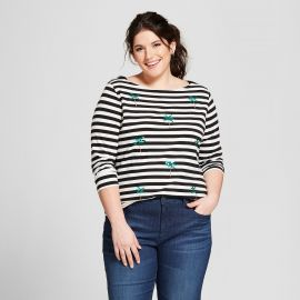 Striped Sequin Palm Trees Boatneck 3/4 Sleeve T-shirt by A New Day at Target at Target