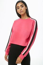 Striped-Trim Cropped Sweatshirt at Forever 21